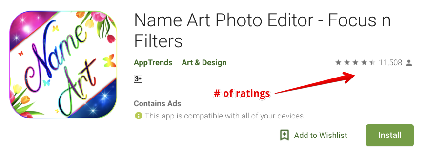 You can use number of ratings of apps in the play store when you're doing market research