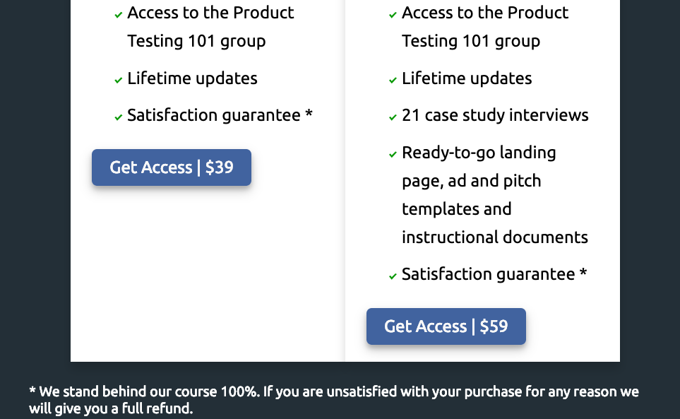 A pricing page is a high stakes call to action
